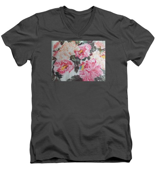 Men's V-Neck T-Shirt featuring the painting Hp11192015-0767 by Dongling Sun