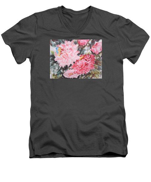 Men's V-Neck T-Shirt featuring the painting Hp11192015-0768 by Dongling Sun