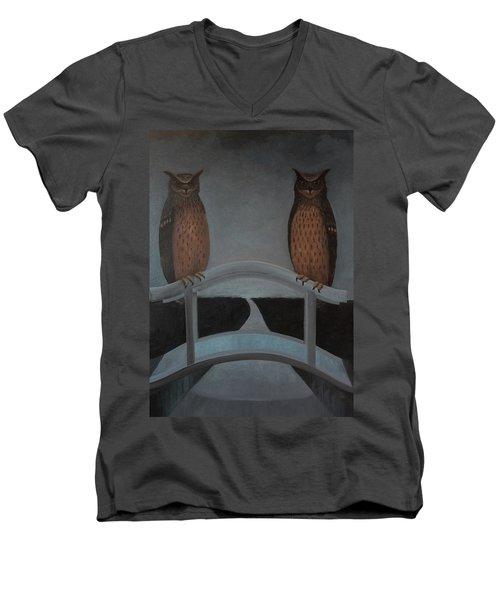 Men's V-Neck T-Shirt featuring the painting Hu-hu-bro by Tone Aanderaa