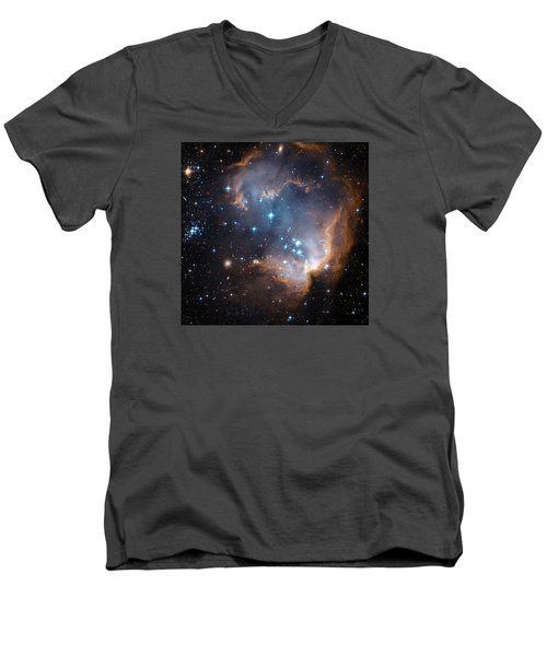 Hubble's View Of N90 Star-forming Region Men's V-Neck T-Shirt