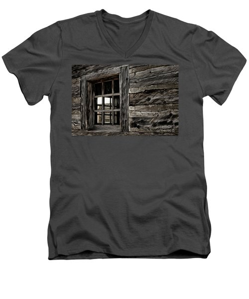 Men's V-Neck T-Shirt featuring the photograph Hudson Bay Fort Window by Brad Allen Fine Art