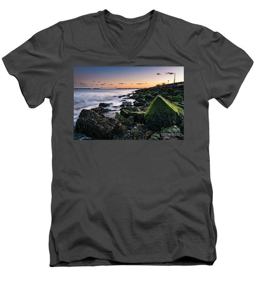 Hudson River And Verrazano-narrows Bridge Men's V-Neck T-Shirt