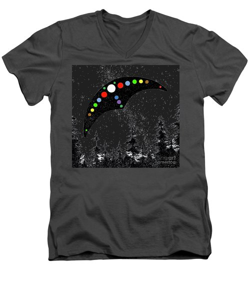 Men's V-Neck T-Shirt featuring the painting Hudson Valley Ufo by James Williamson
