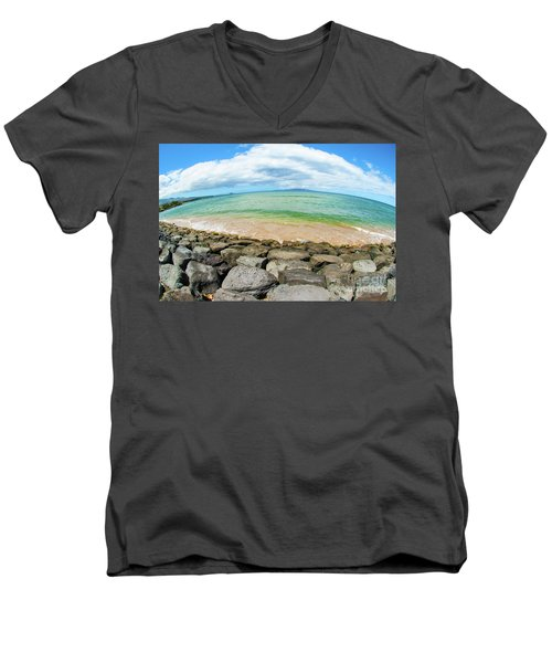 Men's V-Neck T-Shirt featuring the photograph Huge Wikiki Beach by Micah May