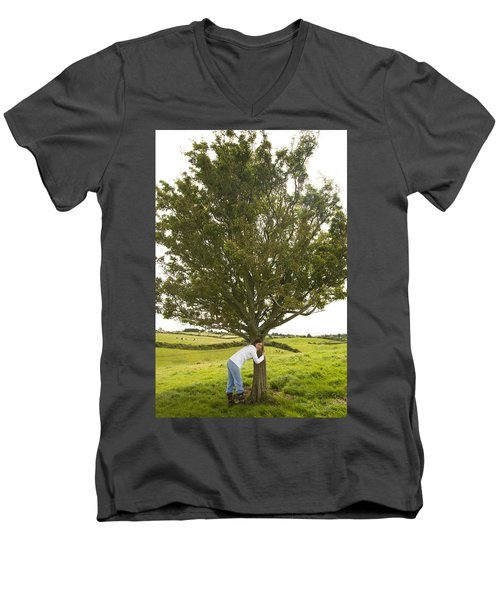 Men's V-Neck T-Shirt featuring the photograph Hugging The Fairy Tree In Ireland by Ian Middleton