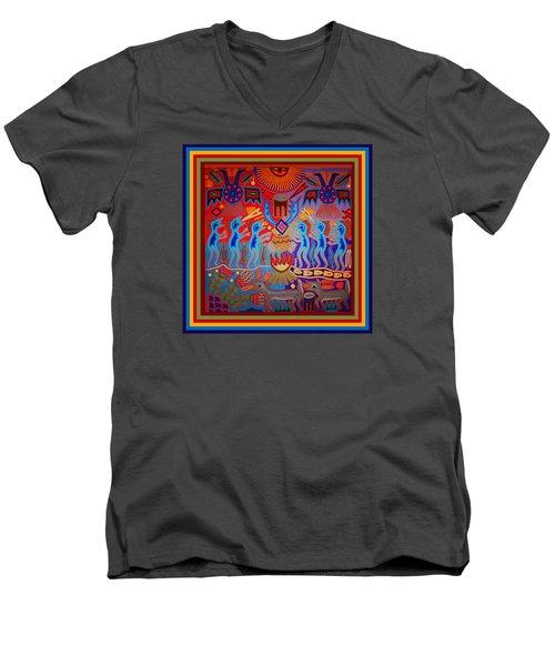 Men's V-Neck T-Shirt featuring the digital art Huichol Tribal Fire Ritual by Vagabond Folk Art - Virginia Vivier