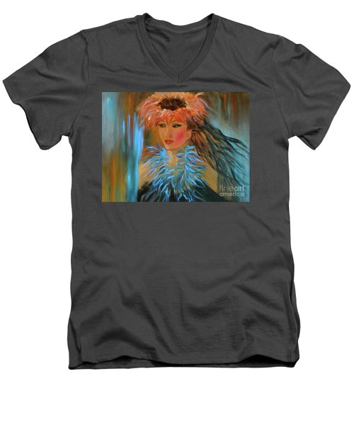 Hula In Turquoise Men's V-Neck T-Shirt by Jenny Lee
