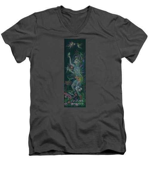 Men's V-Neck T-Shirt featuring the drawing Hum by Dawn Fairies