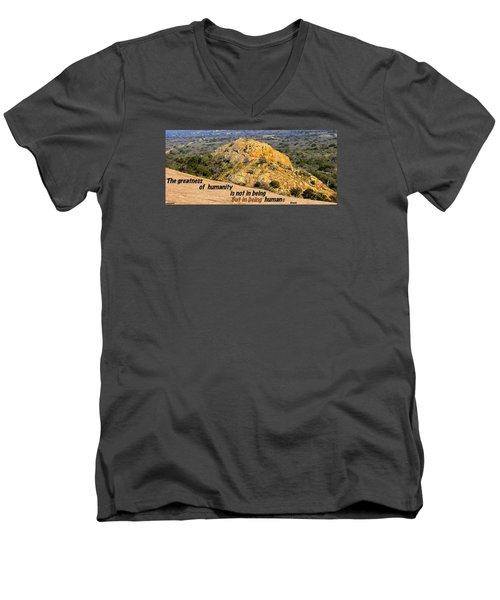 Men's V-Neck T-Shirt featuring the photograph Humanity Reworked by David Norman