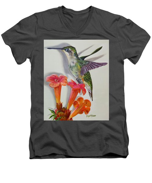 Hummingbird And A Trumpet Vine Men's V-Neck T-Shirt by Phyllis Beiser