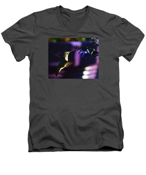 Hummingbird And Blue Flower Men's V-Neck T-Shirt by Kathy Eickenberg
