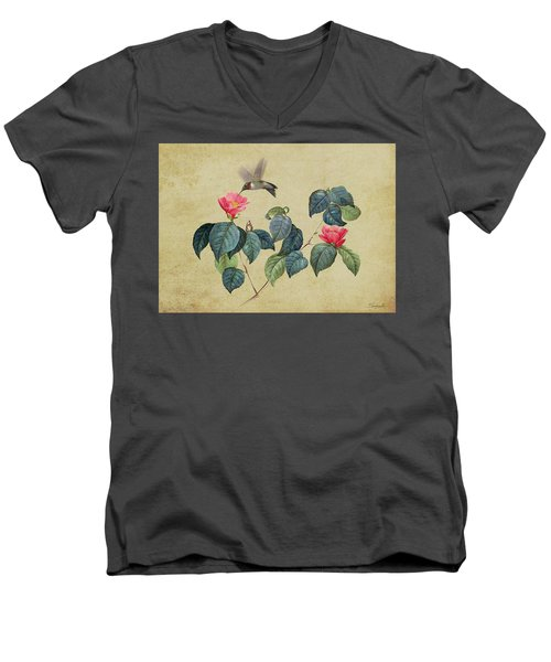 Hummingbird And Japanese Camillea Men's V-Neck T-Shirt