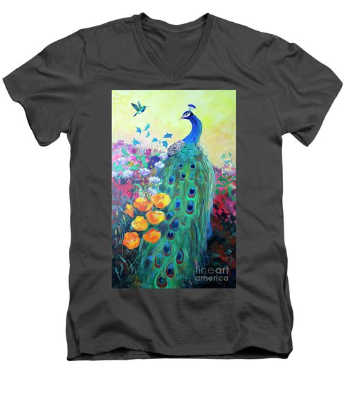 Men's V-Neck T-Shirt featuring the painting Hummingbird And Peacock by Robin Maria Pedrero