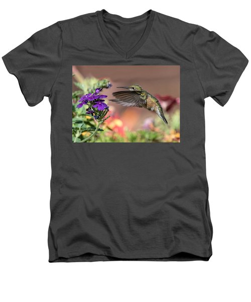 Hummingbird And Purple Flower Men's V-Neck T-Shirt