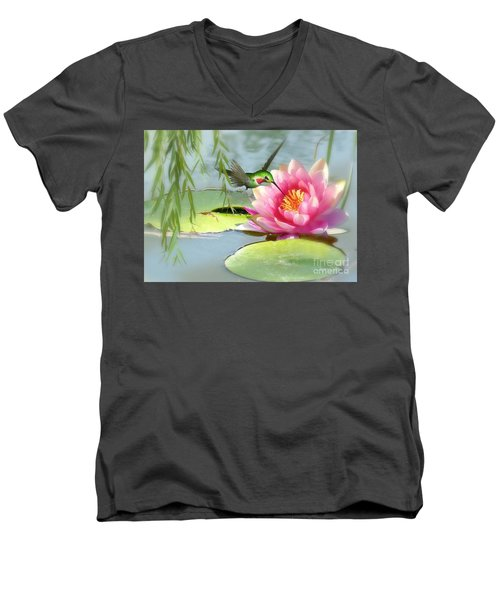 Hummingbird And Water Lily Men's V-Neck T-Shirt