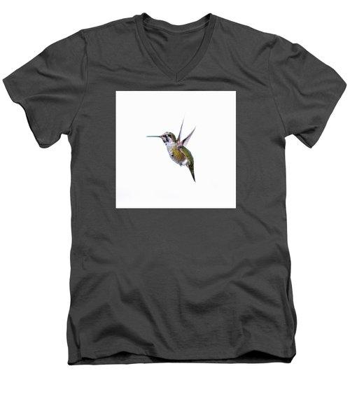 Hummingbird In Flight Men's V-Neck T-Shirt by E Faithe Lester