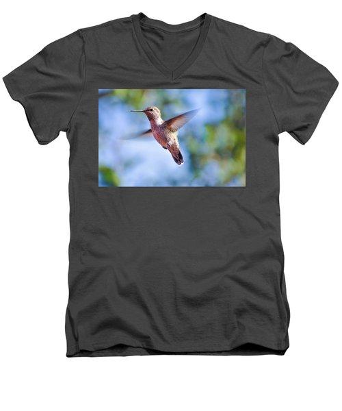 Hummingbird In Flight Men's V-Neck T-Shirt