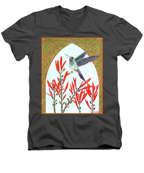 Hummingbird In Opening Men's V-Neck T-Shirt by Lise Winne