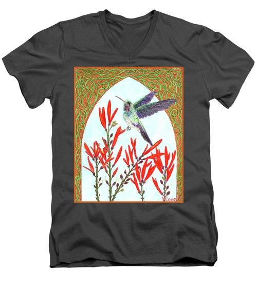 Hummingbird In Opening Men's V-Neck T-Shirt