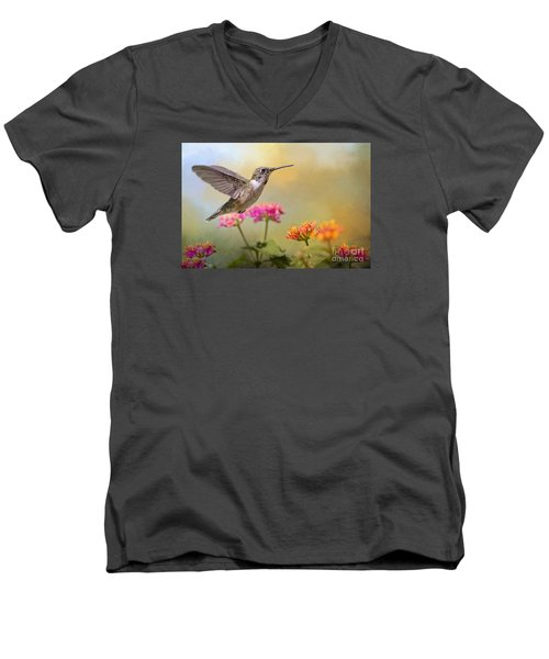 Hummingbird In The Garden Men's V-Neck T-Shirt by Bonnie Barry