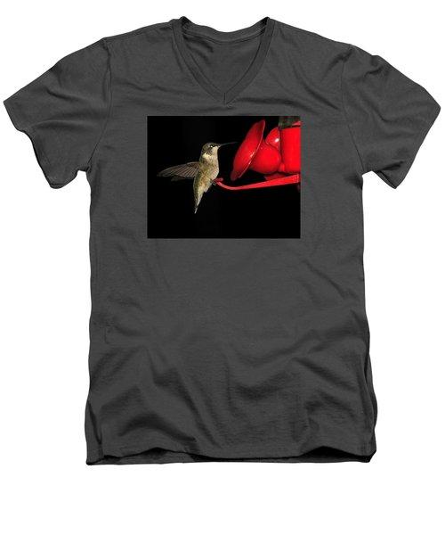 Men's V-Neck T-Shirt featuring the photograph Hummingbird Nightcap by Phyllis Beiser