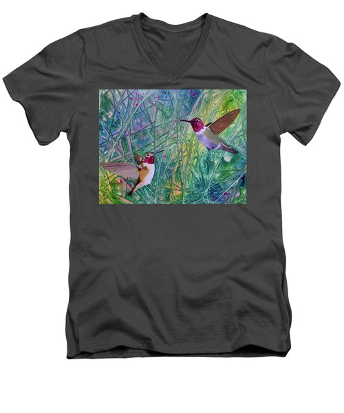 Hummingbird Pair Men's V-Neck T-Shirt by Nancy Jolley