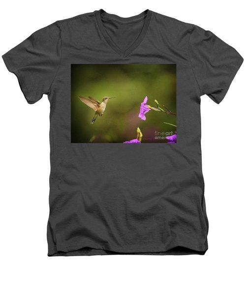 Hummingbird Pink Flower Men's V-Neck T-Shirt