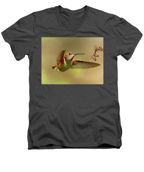 Hummingbird Vs. Bees Men's V-Neck T-Shirt by Sheldon Bilsker