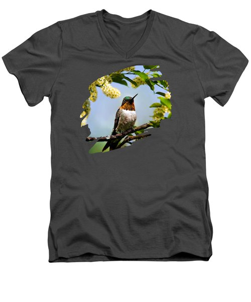 Hummingbird With Flowers Men's V-Neck T-Shirt by Christina Rollo