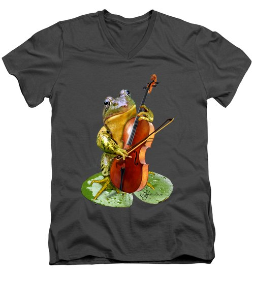 Humorous Scene Frog Playing Cello In Lily Pond Men's V-Neck T-Shirt by Regina Femrite
