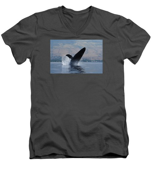 Humpback Whale Breach Men's V-Neck T-Shirt by Jennifer Ancker