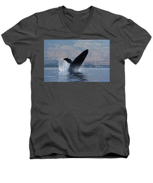 Men's V-Neck T-Shirt featuring the photograph Humpback Whale Breach by Jennifer Ancker