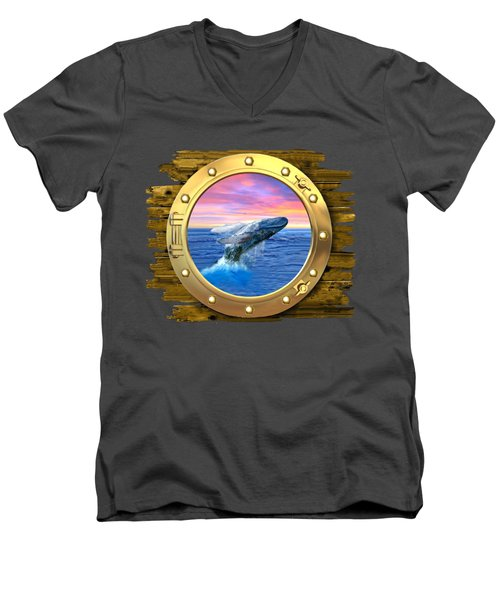 Humpback Whale Breaching At Sunset Men's V-Neck T-Shirt