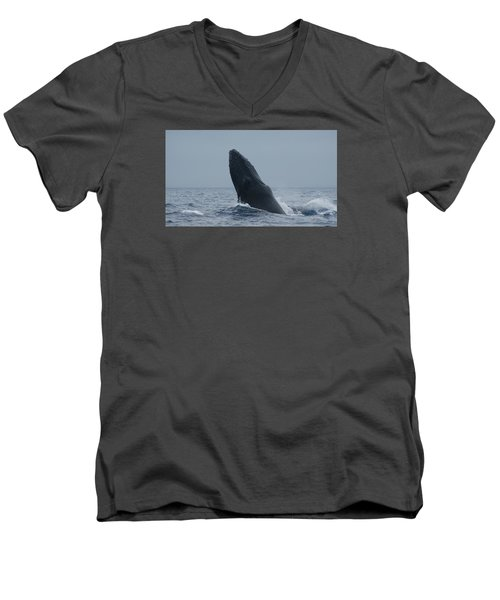 Men's V-Neck T-Shirt featuring the photograph Humpback Whale Breaching by Gary Crockett