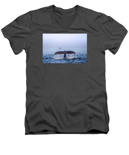 Men's V-Neck T-Shirt featuring the photograph Humpback Whale Flukes by Janis Knight