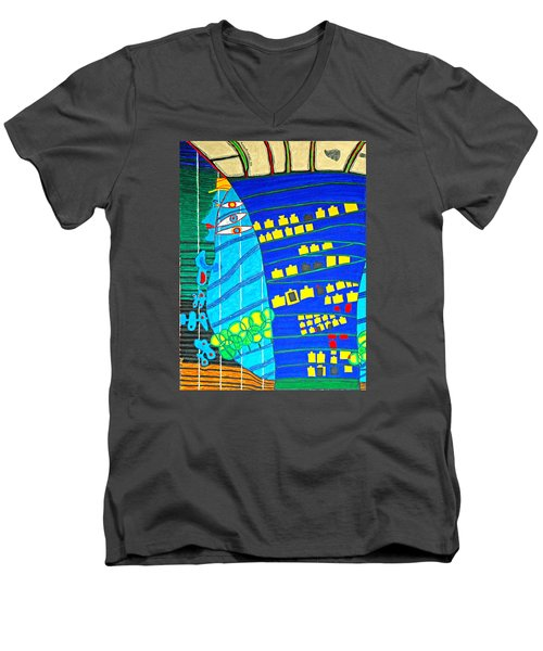 Hundertwasser Blue Moon Atlantis Escape To Outer Space Men's V-Neck T-Shirt