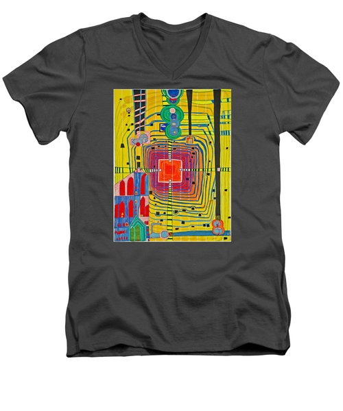 Hundertwassers Close Up Of Infinity Tagores Sun Men's V-Neck T-Shirt