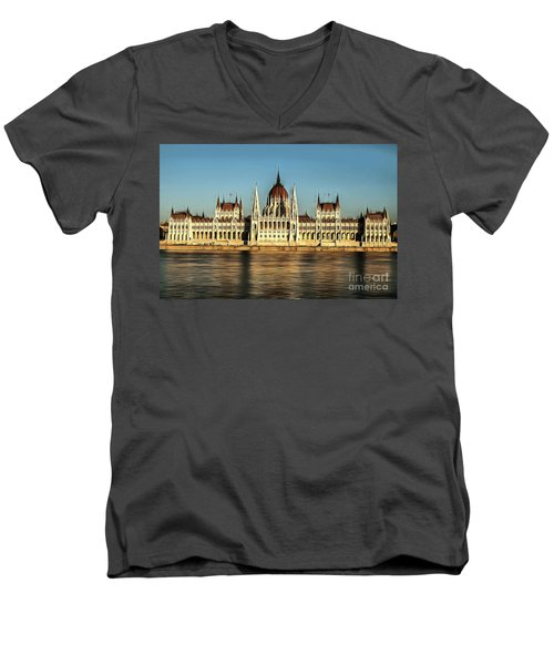 Hungarian National Parliament Men's V-Neck T-Shirt