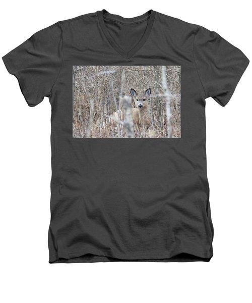Hunkered Down Men's V-Neck T-Shirt by Brook Burling