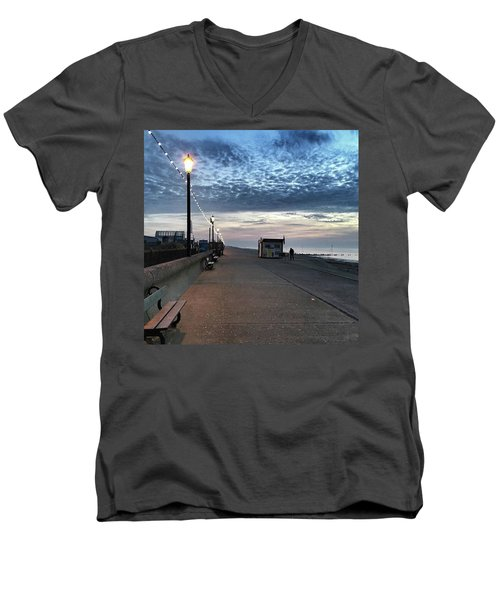 Hunstanton At 5pm Today  #sea #beach Men's V-Neck T-Shirt by John Edwards