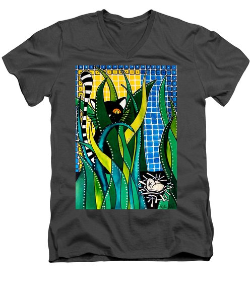 Men's V-Neck T-Shirt featuring the painting Hunter In Camouflage - Cat Art By Dora Hathazi Mendes by Dora Hathazi Mendes