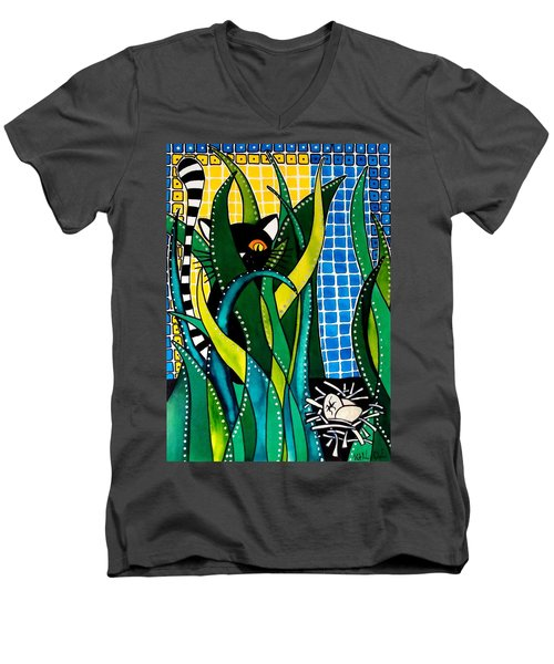 Hunter In Camouflage - Cat Art By Dora Hathazi Mendes Men's V-Neck T-Shirt