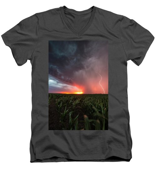 Men's V-Neck T-Shirt featuring the photograph Huron Lightning  by Aaron J Groen