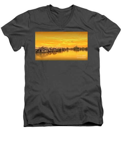 Men's V-Neck T-Shirt featuring the photograph Huts Yellow by Charuhas Images