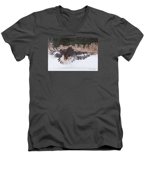 Hunting In The Snow Men's V-Neck T-Shirt by CR Courson