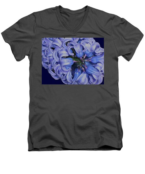 Hyacinth Curls Men's V-Neck T-Shirt by Lynda Lehmann