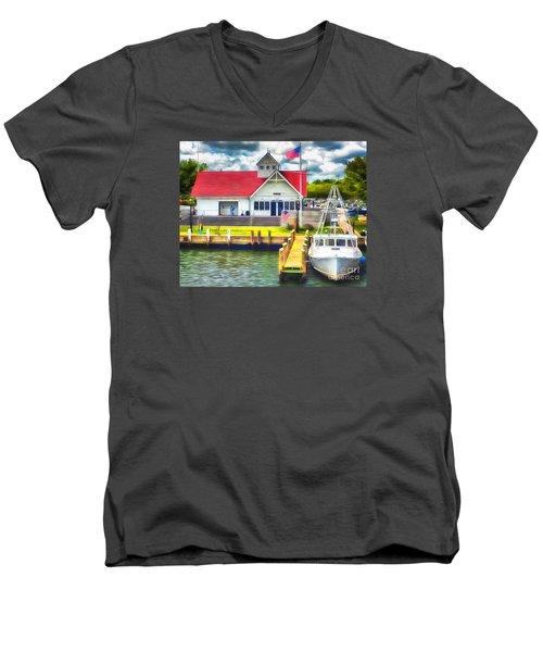 Men's V-Neck T-Shirt featuring the photograph Hyannis The Coastguard by Jack Torcello