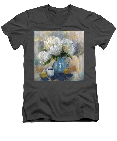 Men's V-Neck T-Shirt featuring the painting Hydrangea Morning by Jennifer Beaudet