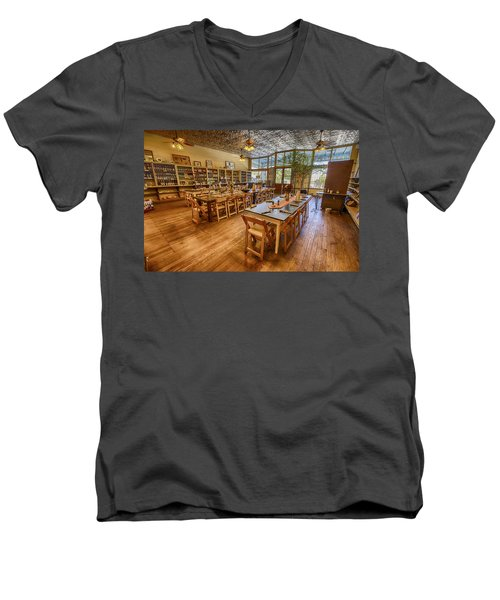 Men's V-Neck T-Shirt featuring the tapestry - textile Hye Market General Store by Kathy Adams Clark