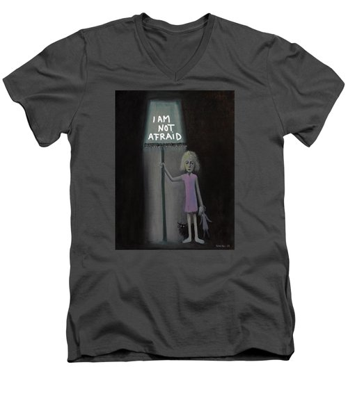 Men's V-Neck T-Shirt featuring the painting I Am Not Afraid by Tone Aanderaa